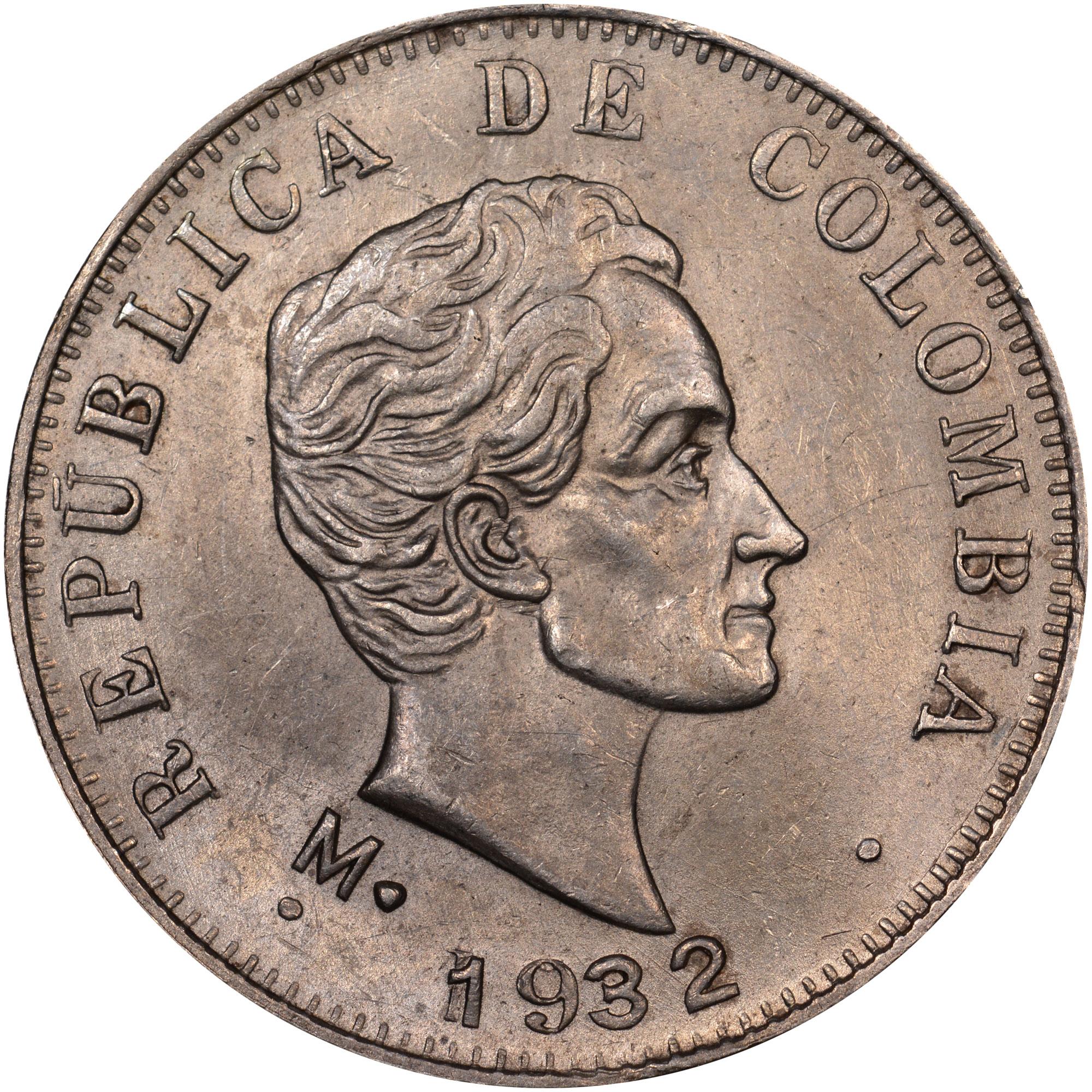 1914-1933/23 Colombia 50 Centavos obverse