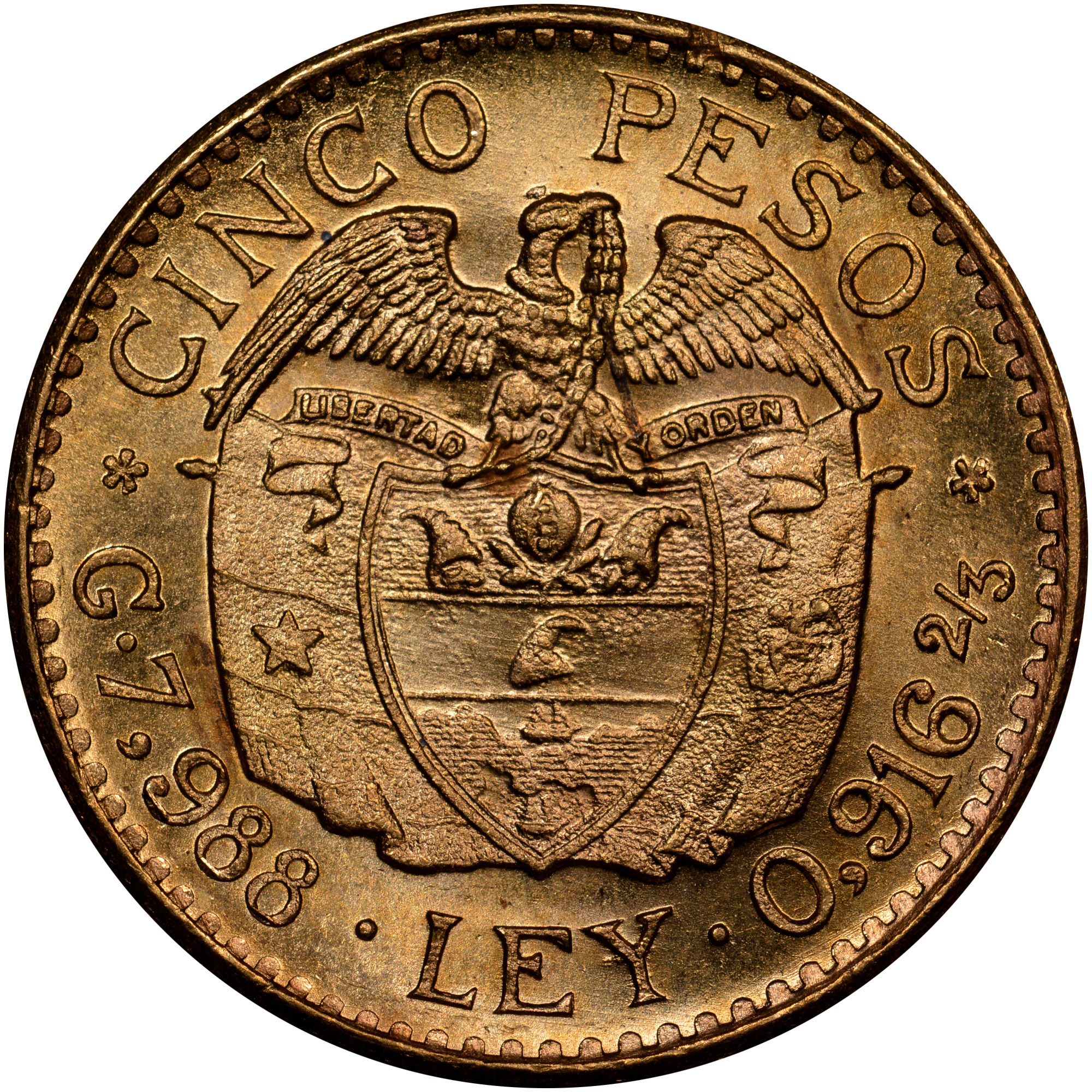 1924-1930 Colombia 5 Pesos reverse