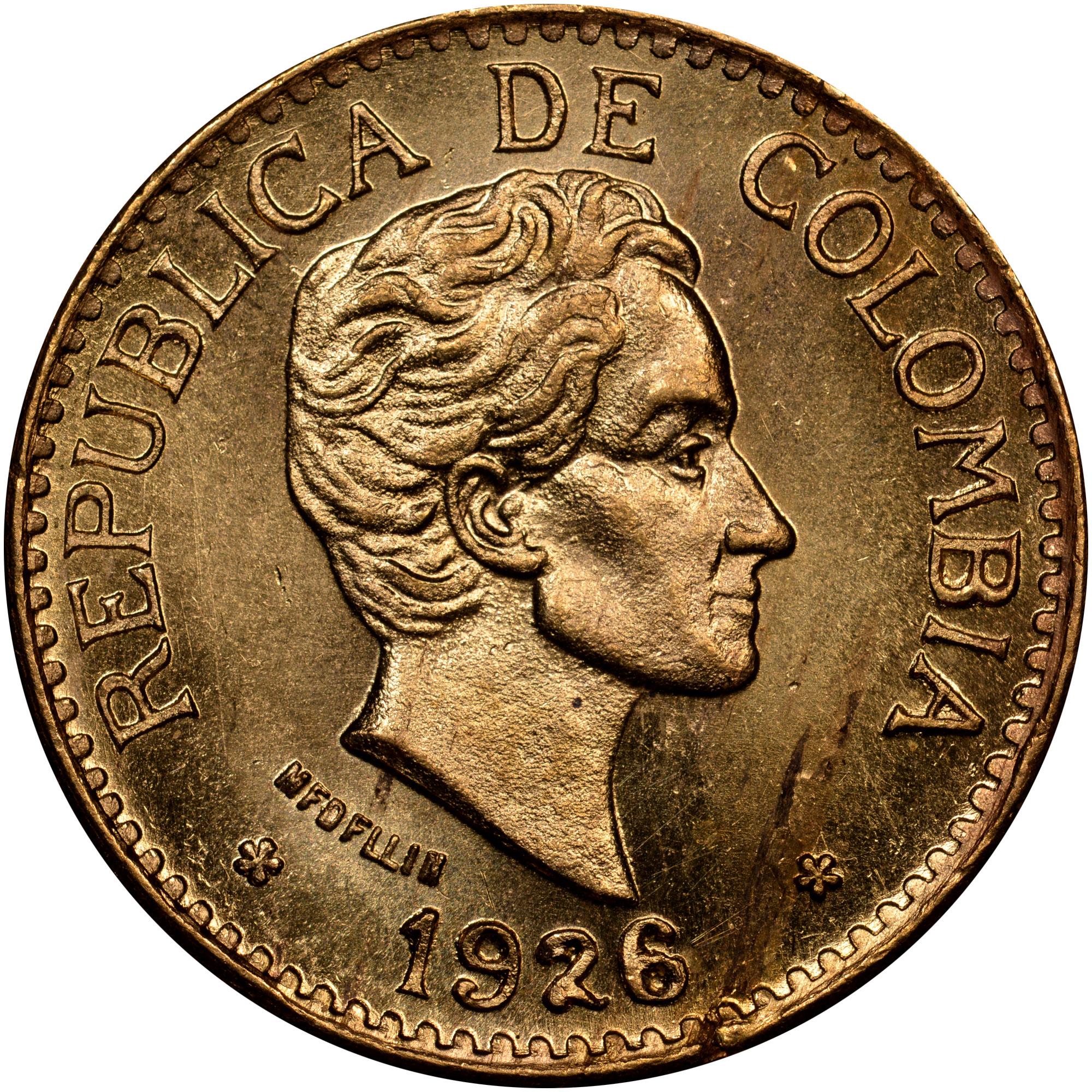 1924-1930 Colombia 5 Pesos obverse