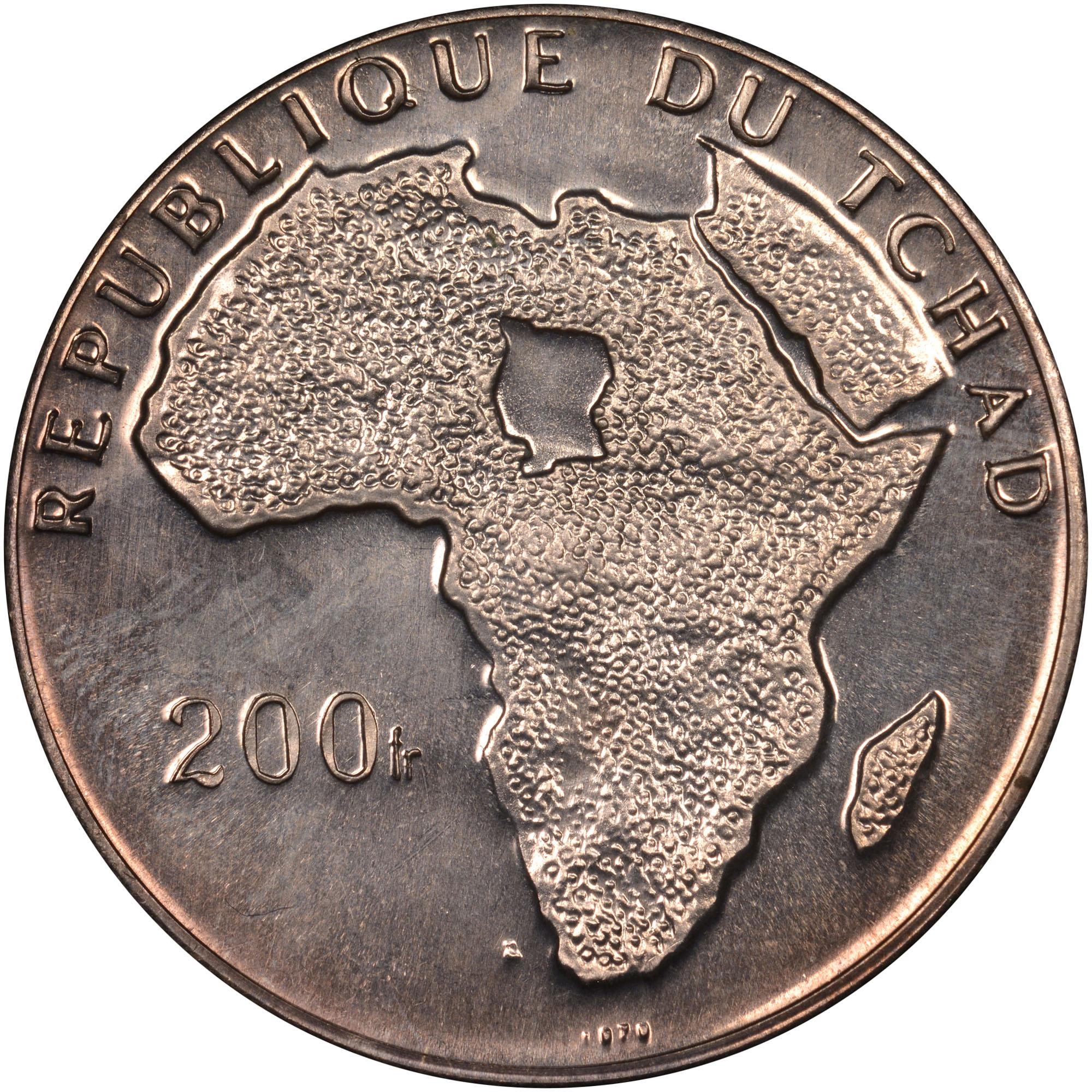 1970 Chad 200 Francs obverse