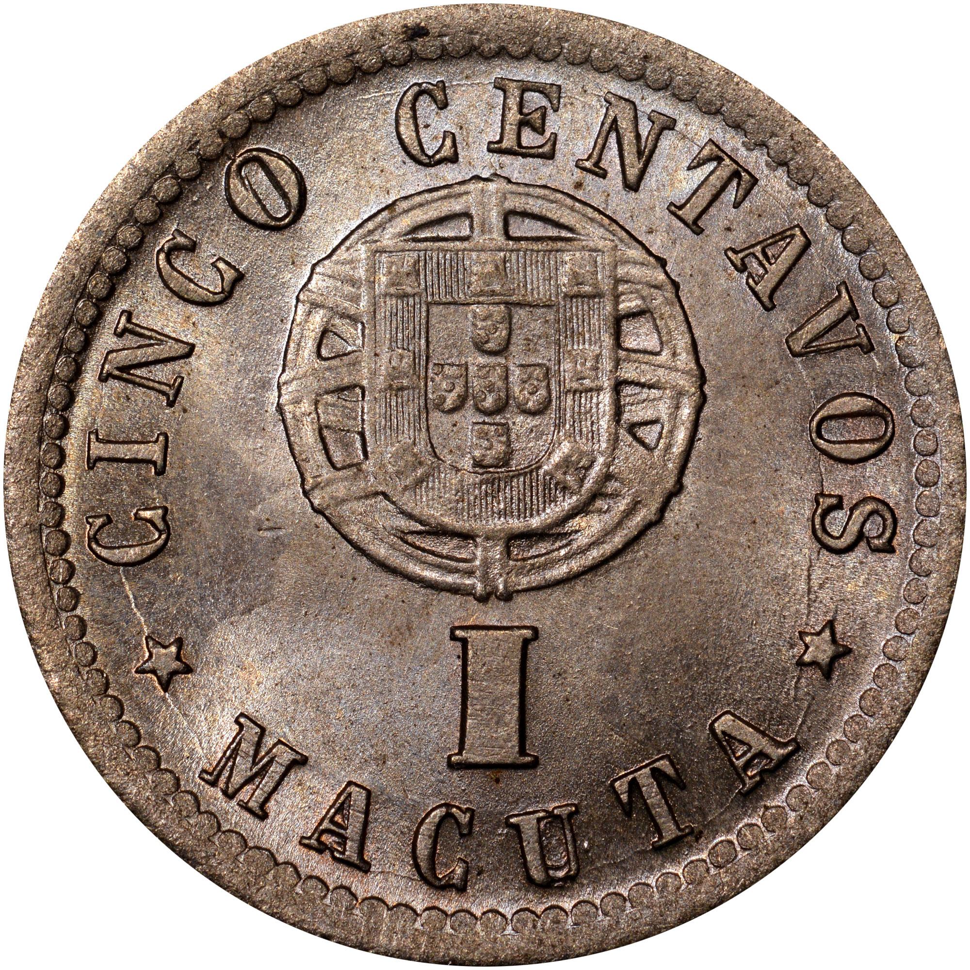 1927 Angola 5 Centavos, 1 Macuta reverse