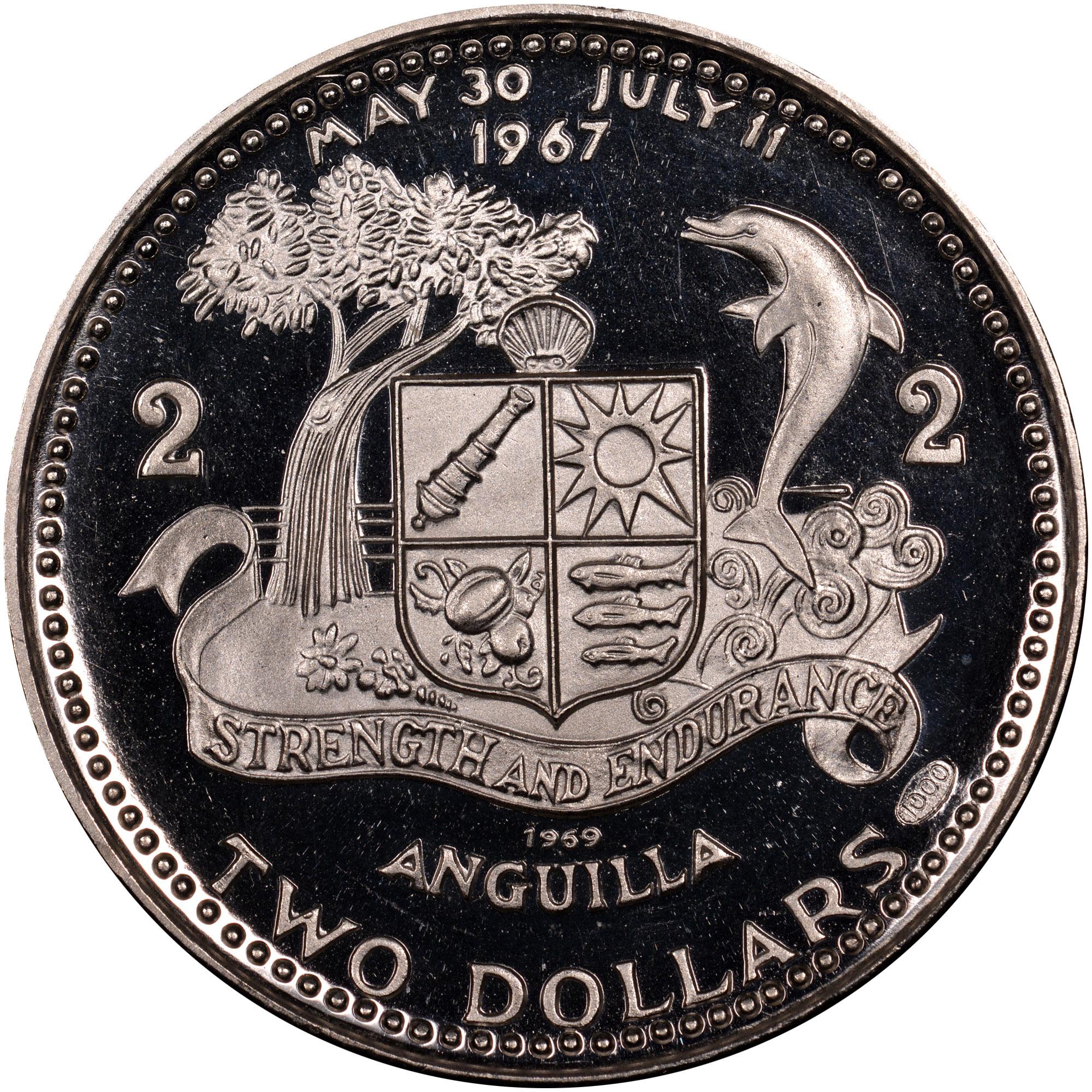 1969-ND Anguilla 2 Dollars reverse