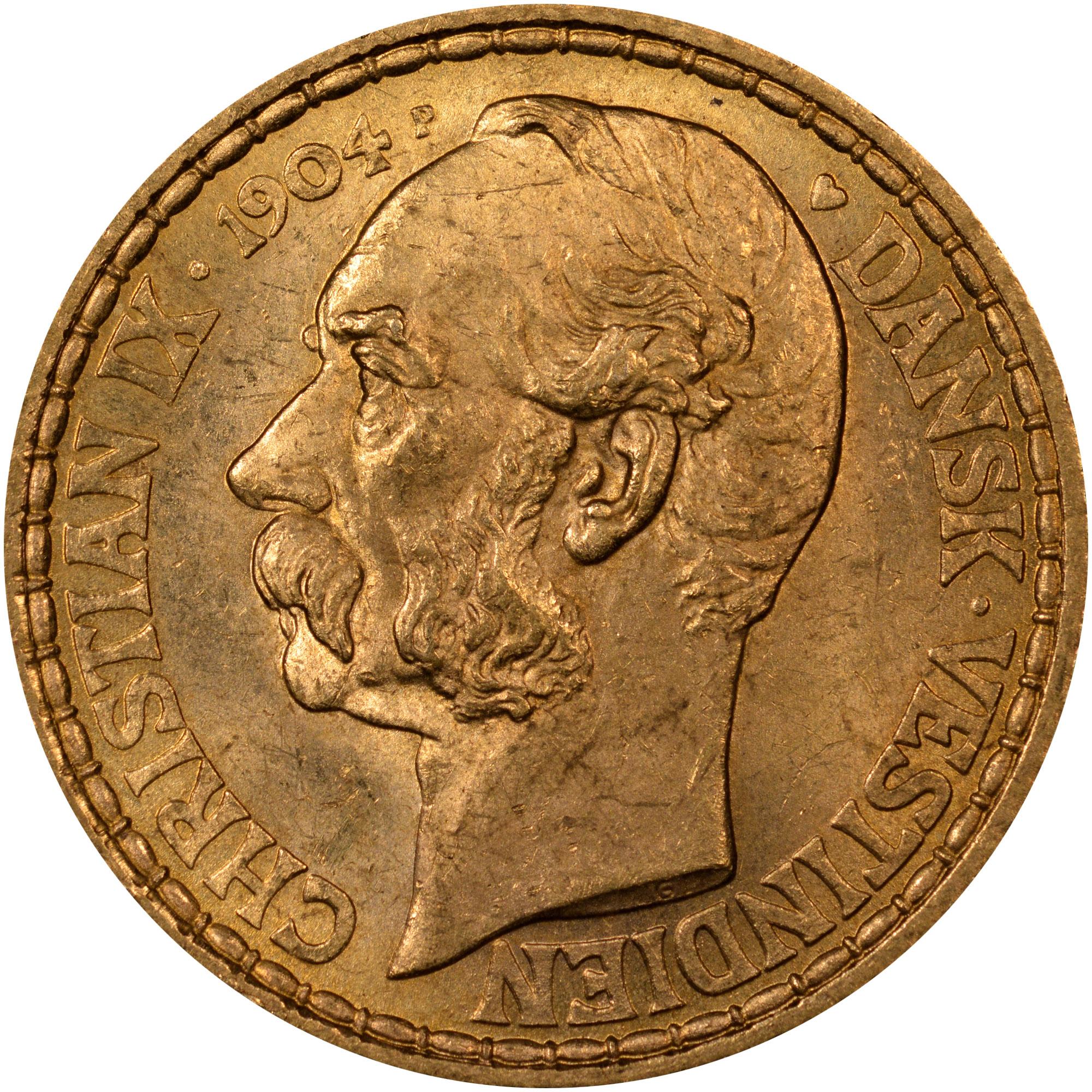 1904-1905 Danish West Indies 4 Daler, 20 Francs obverse