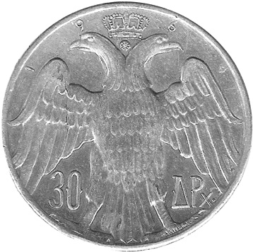 1964 GREECE 30 Drachmai reverse