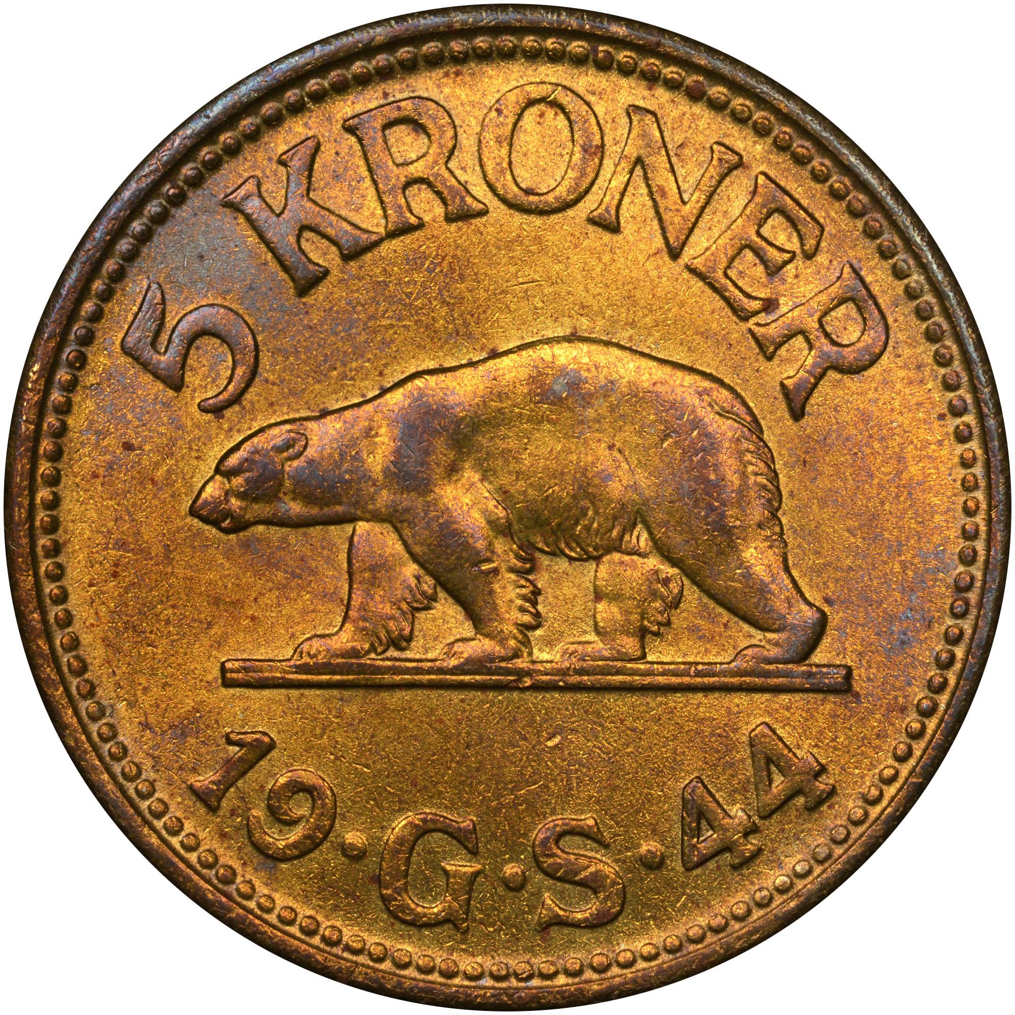 1944 Greenland 5 Kroner reverse