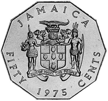 1975-1990 Jamaica 50 Cents obverse