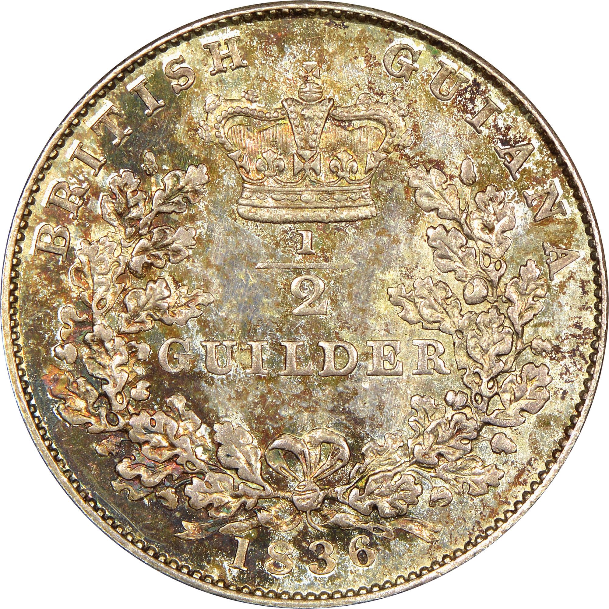 1836 Guyana 1/2 Guilder reverse
