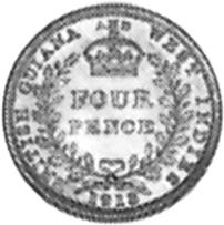 1911-1916 Guyana 4 Pence reverse