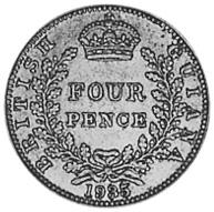 1917-1936 Guyana 4 Pence reverse