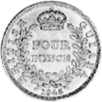 1938-1943 Guyana 4 Pence reverse