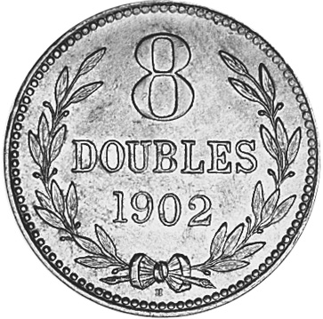 1864-1911 Guernsey 8 Doubles reverse
