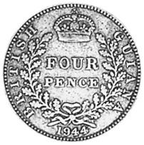 1944-1945 Guyana 4 Pence reverse