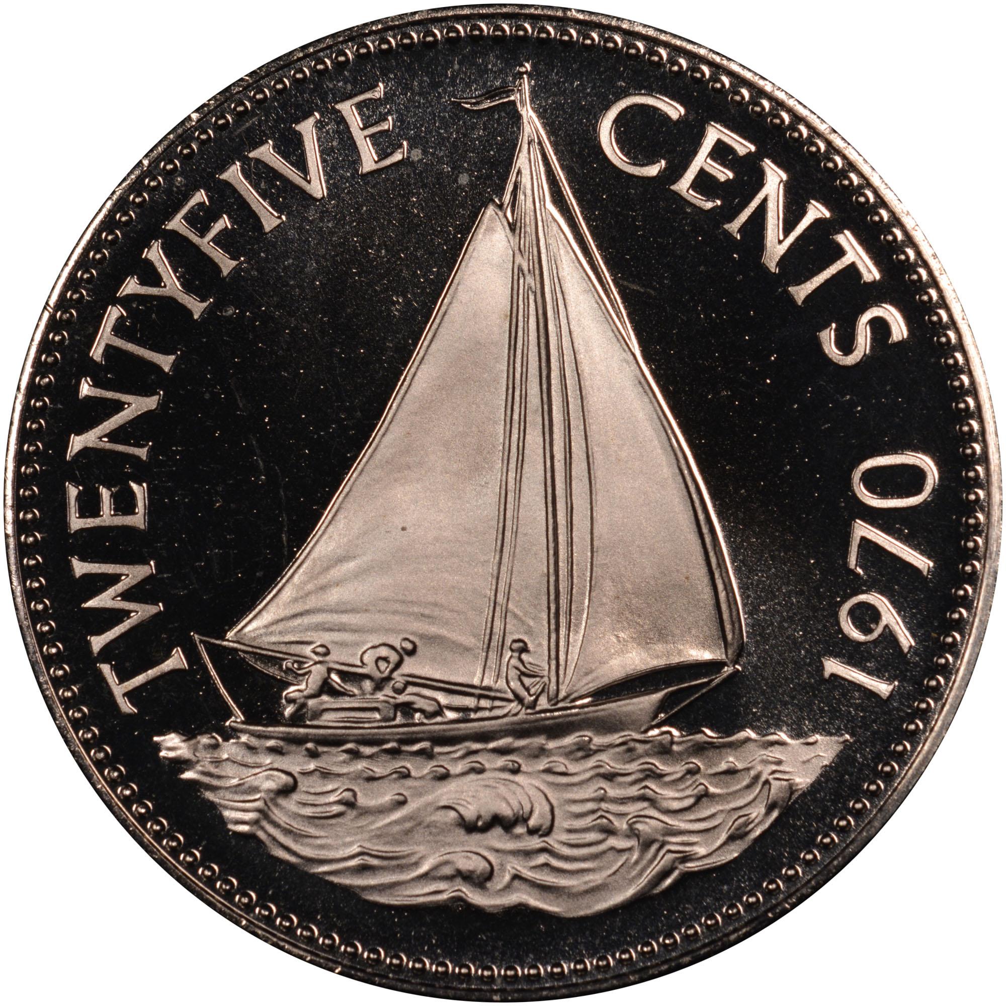 1966-1970 Bahamas 25 Cents reverse