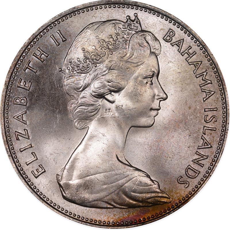 1966-1970 Bahamas 5 Dollars obverse