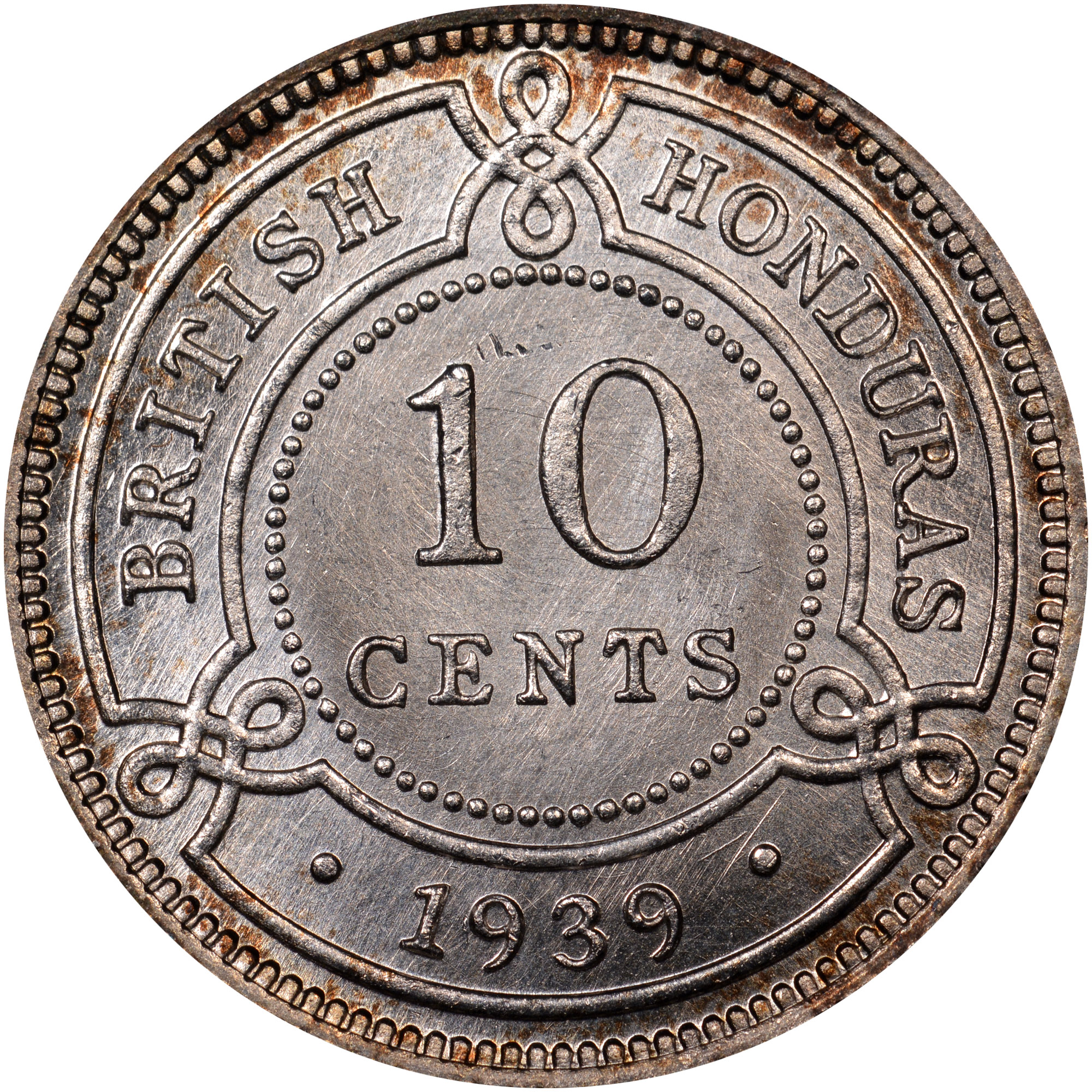 1939-1946 British Honduras 10 Cents reverse