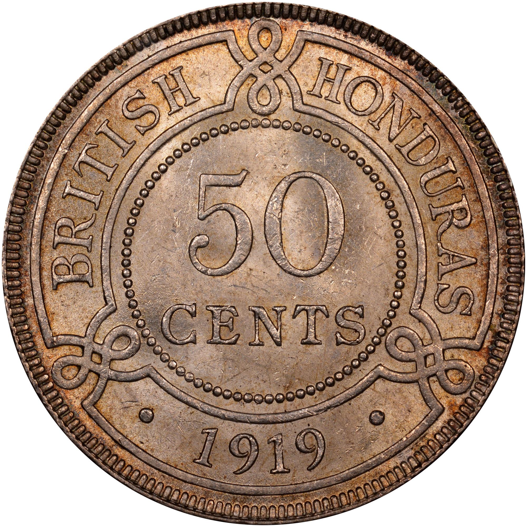 1911-1919 British Honduras 50 Cents reverse