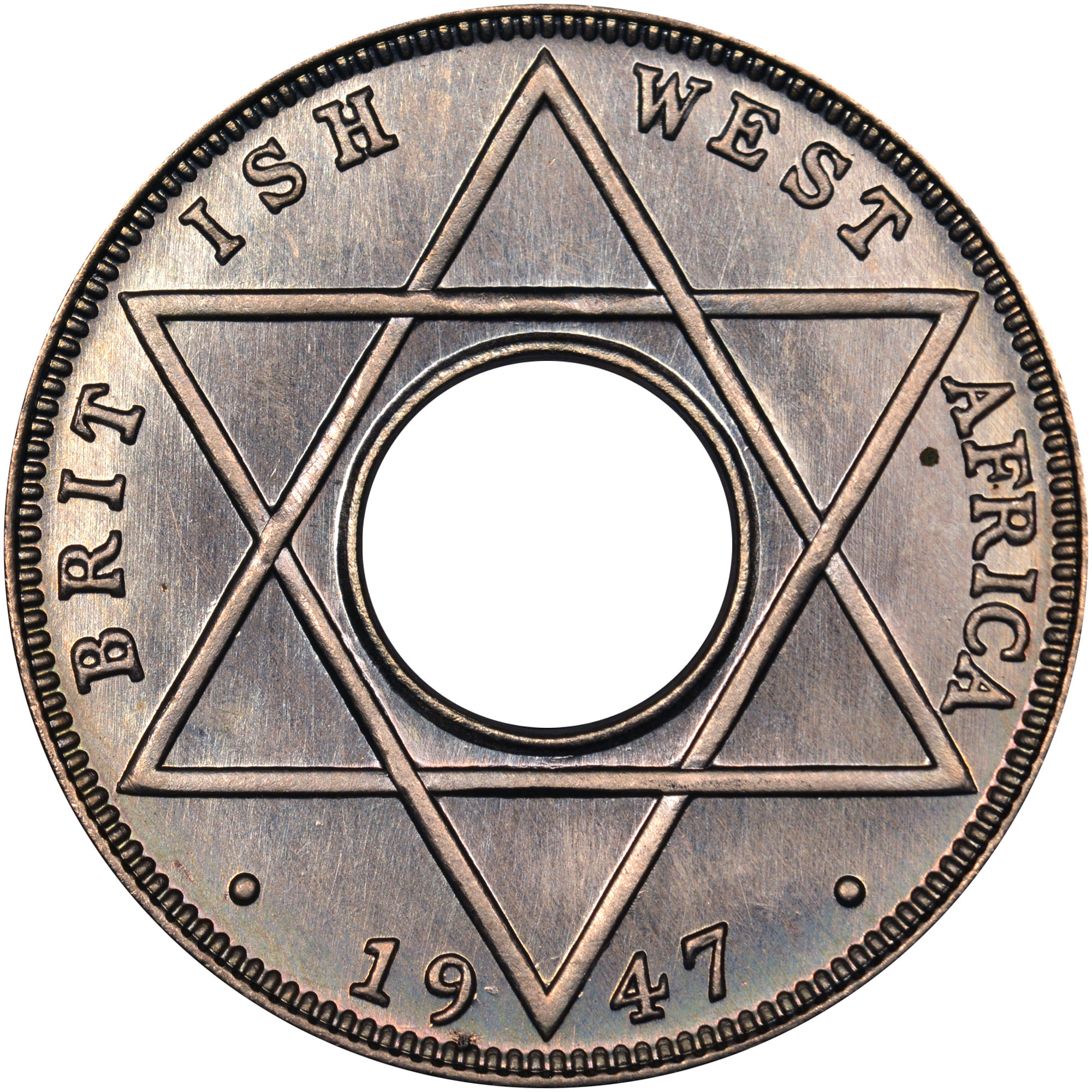 1938-1947 British West Africa 1/10 Penny reverse