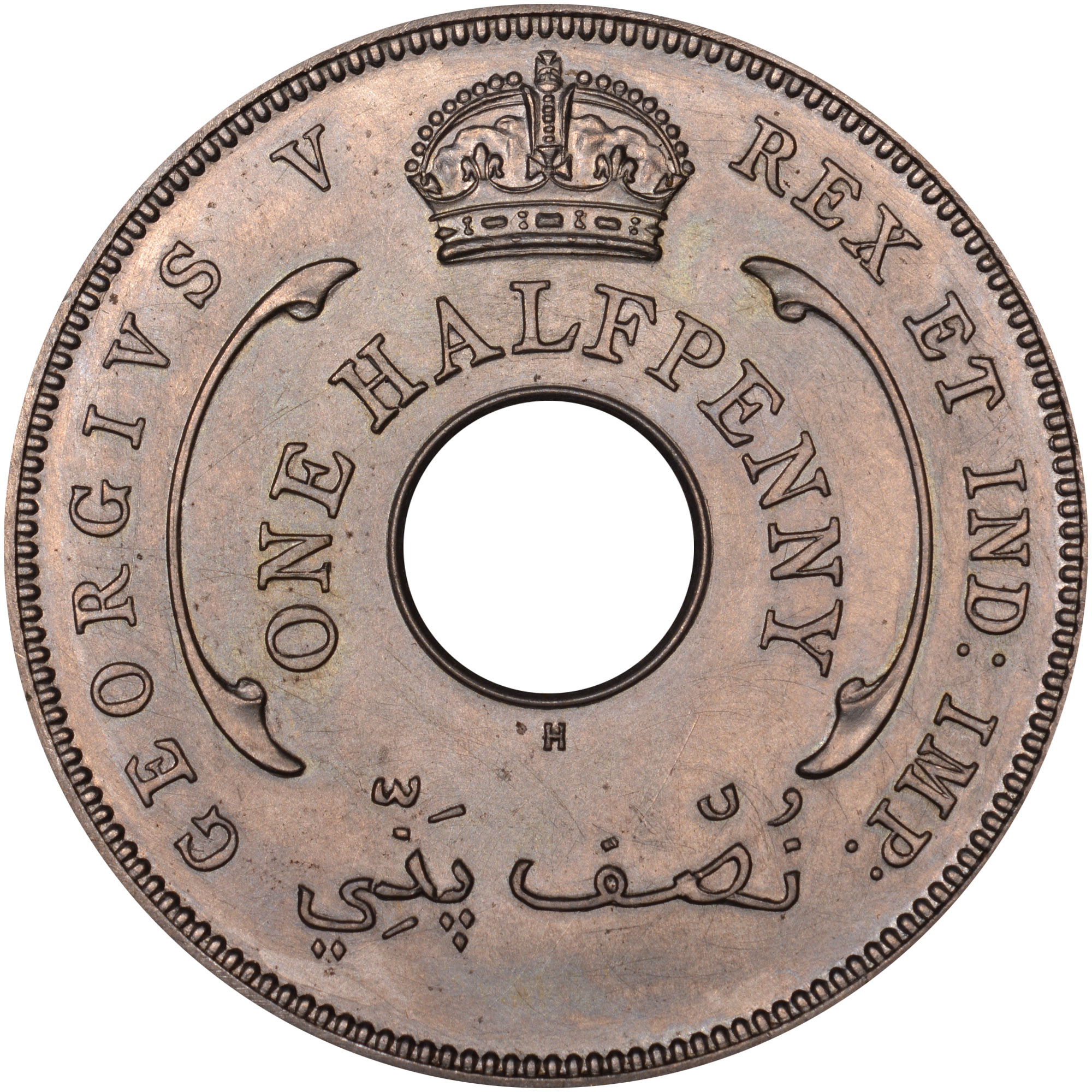 1911 British West Africa 1/2 Penny reverse
