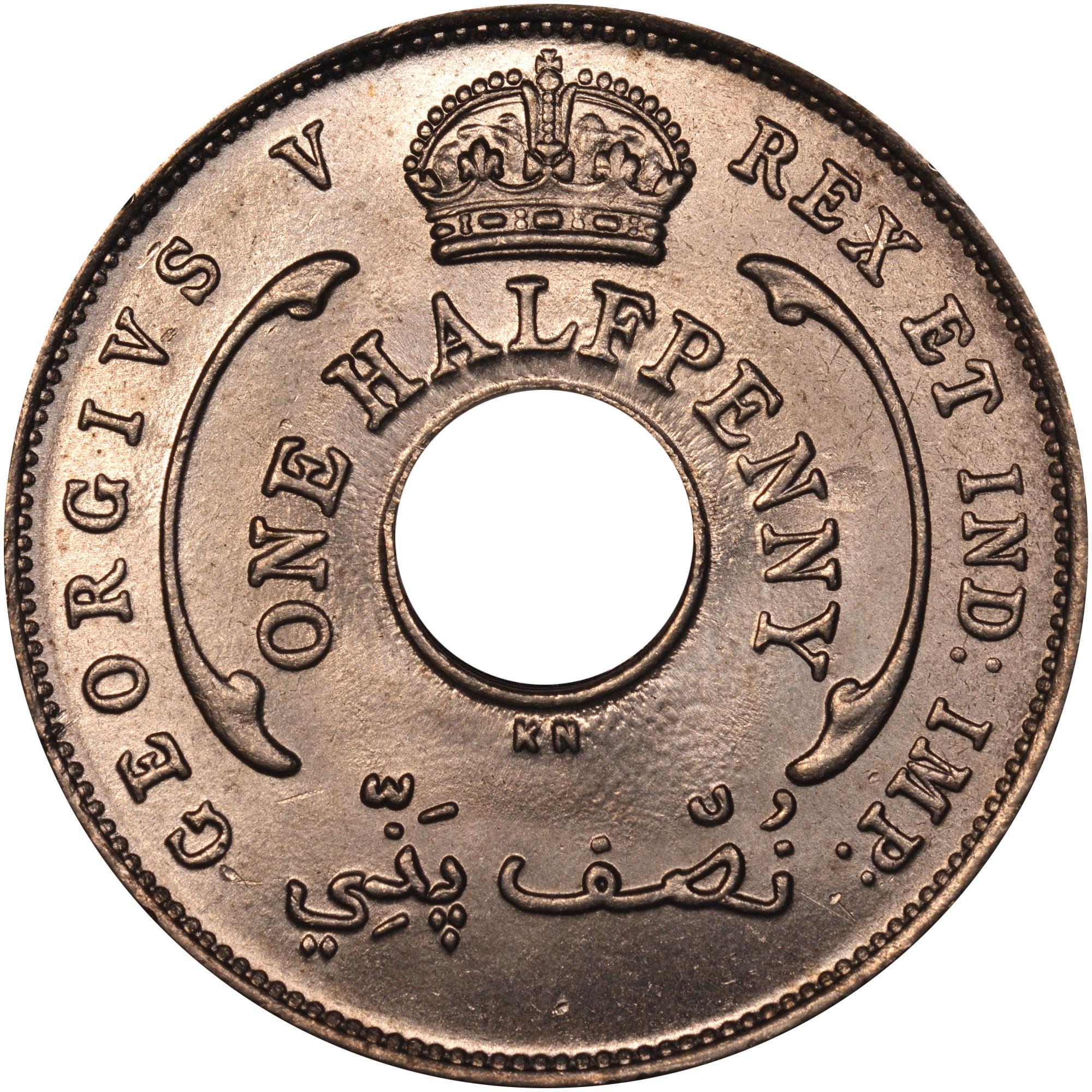 1912-1936 British West Africa 1/2 Penny obverse