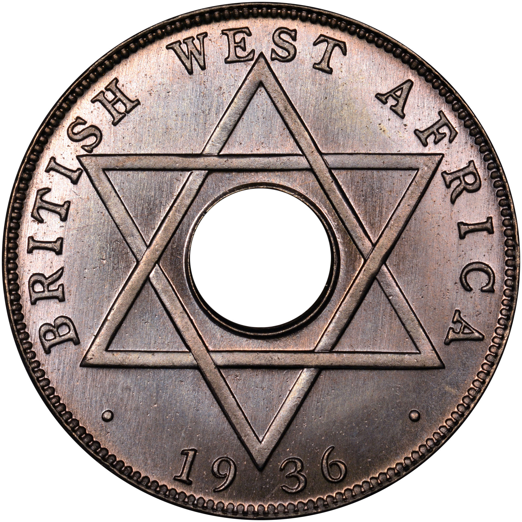 1936 British West Africa 1/2 Penny reverse