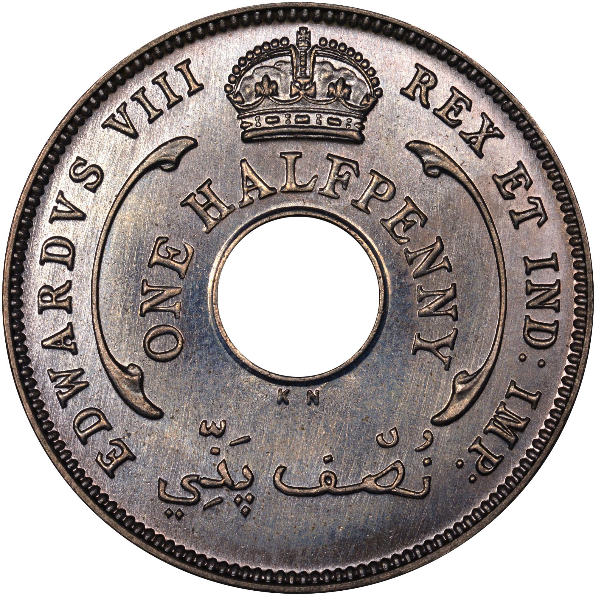 1936 British West Africa 1/2 Penny obverse