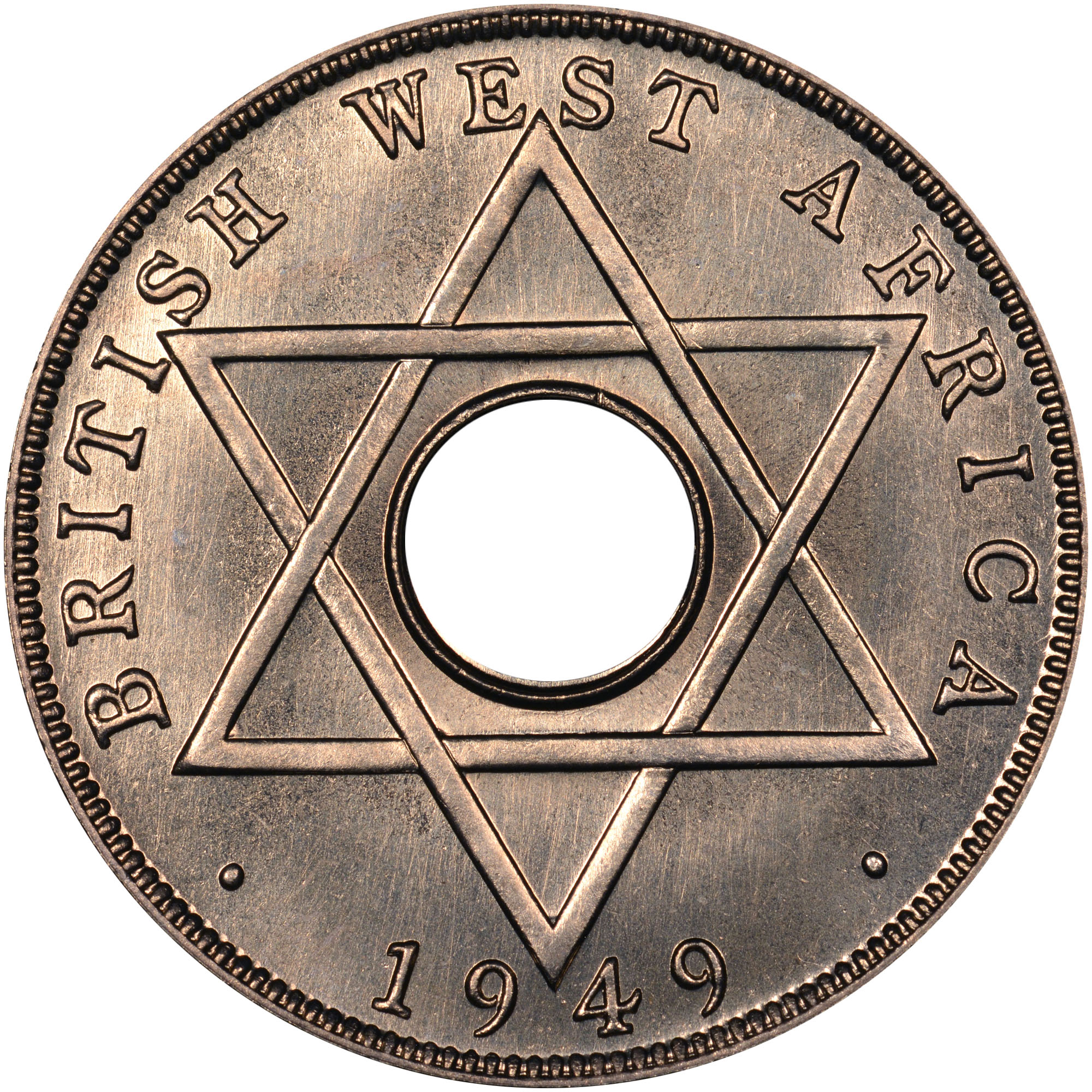 1949-1951 British West Africa 1/2 Penny reverse