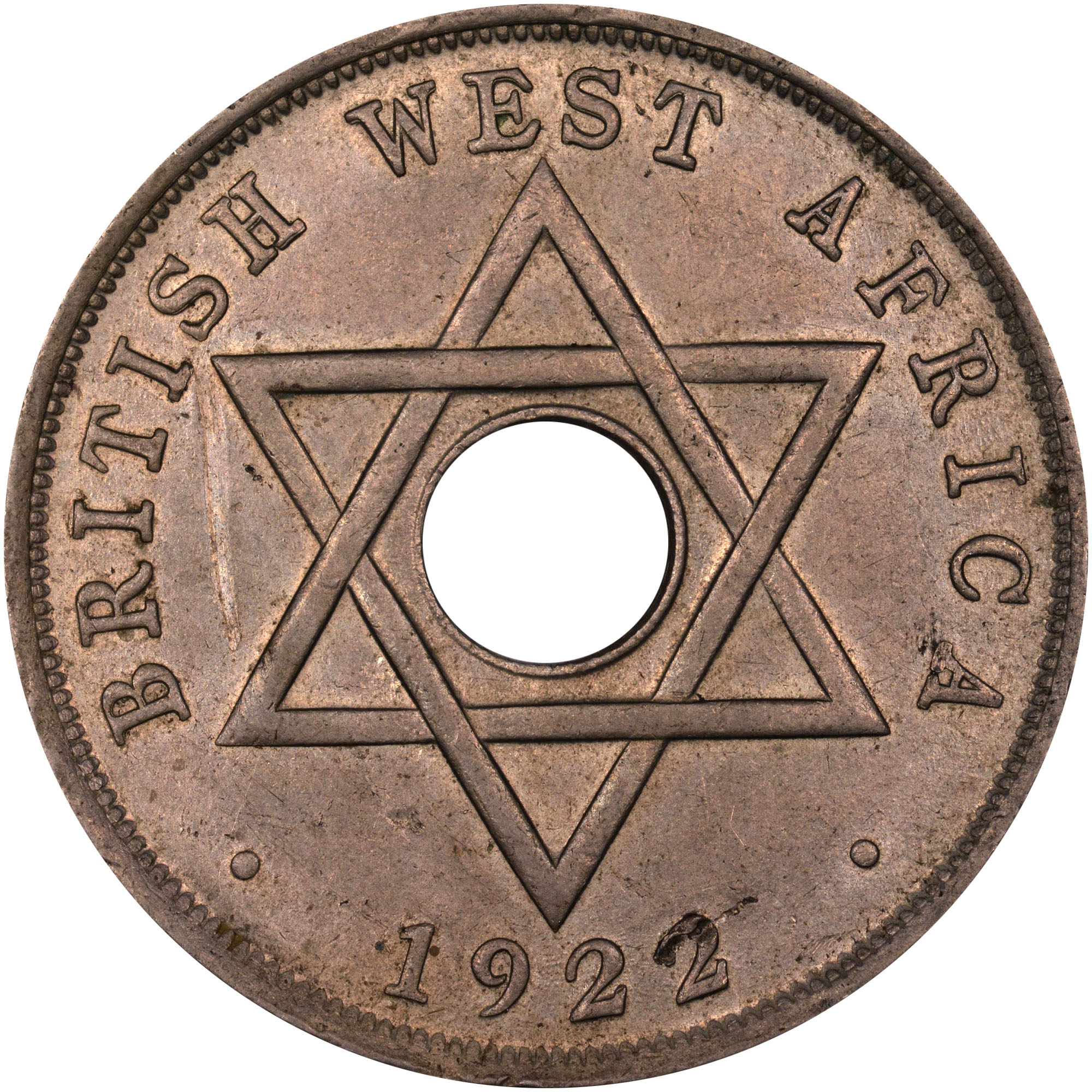 1912-1936 British West Africa Penny reverse