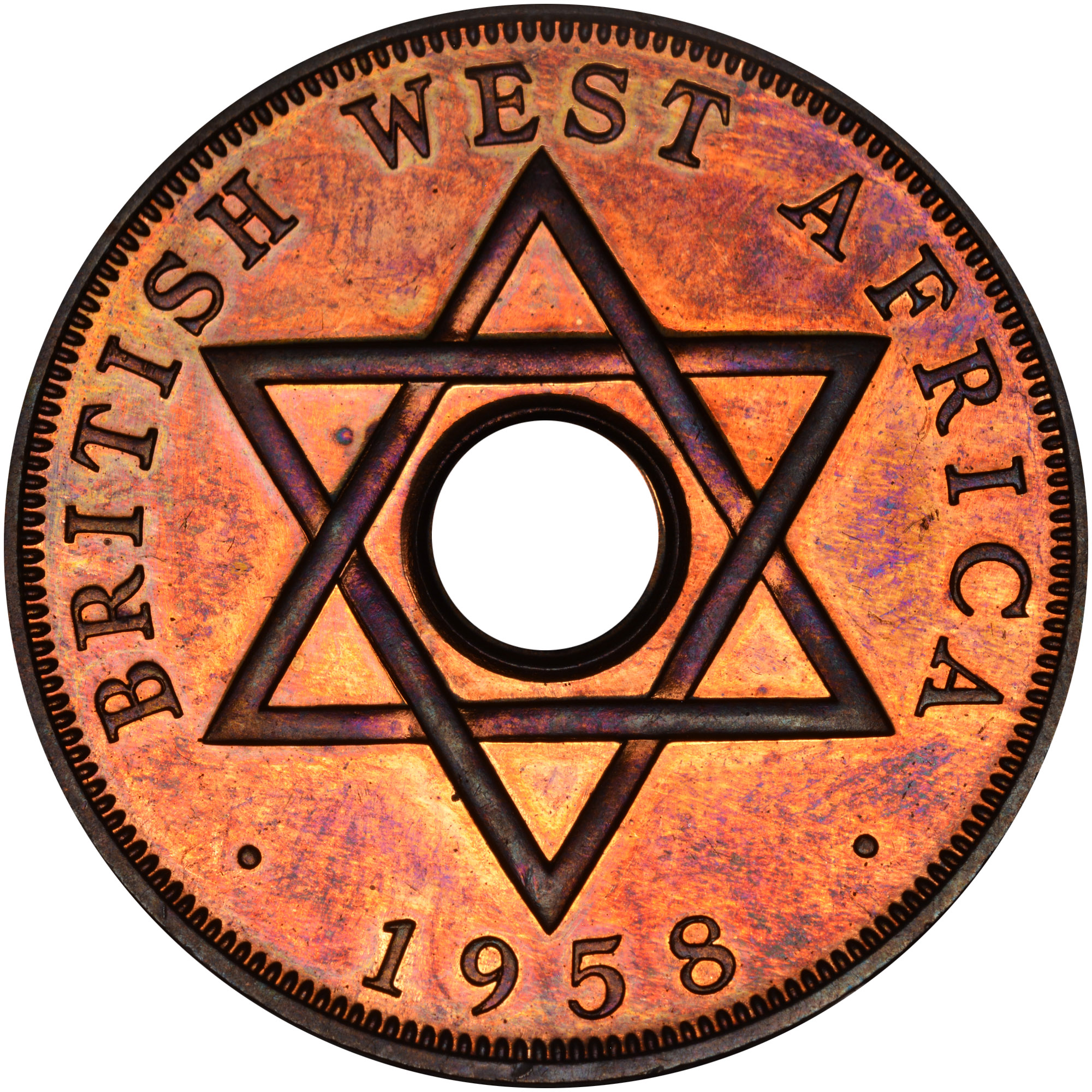 1956-1958 British West Africa Penny reverse
