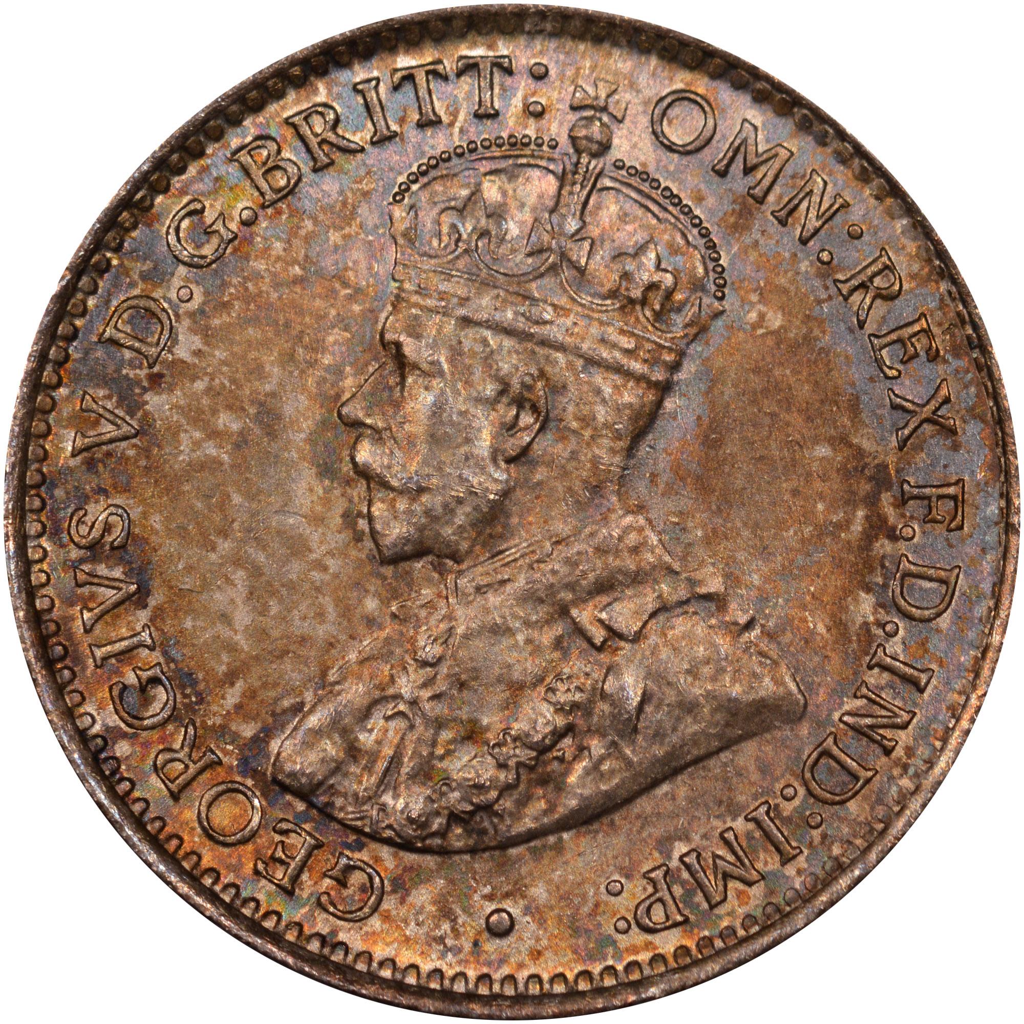 1913-1919 British West Africa 3 Pence obverse