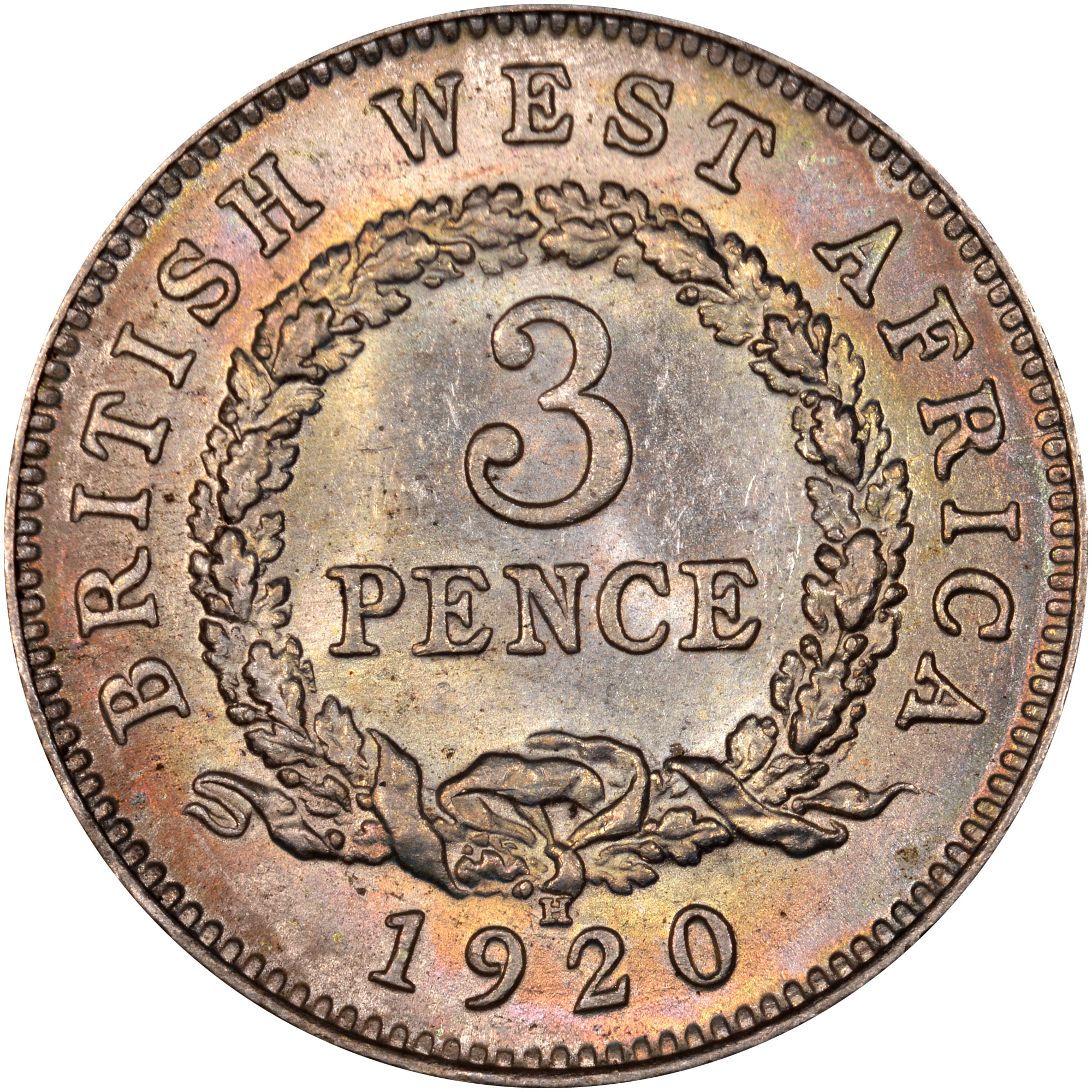 1920 British West Africa 3 Pence reverse