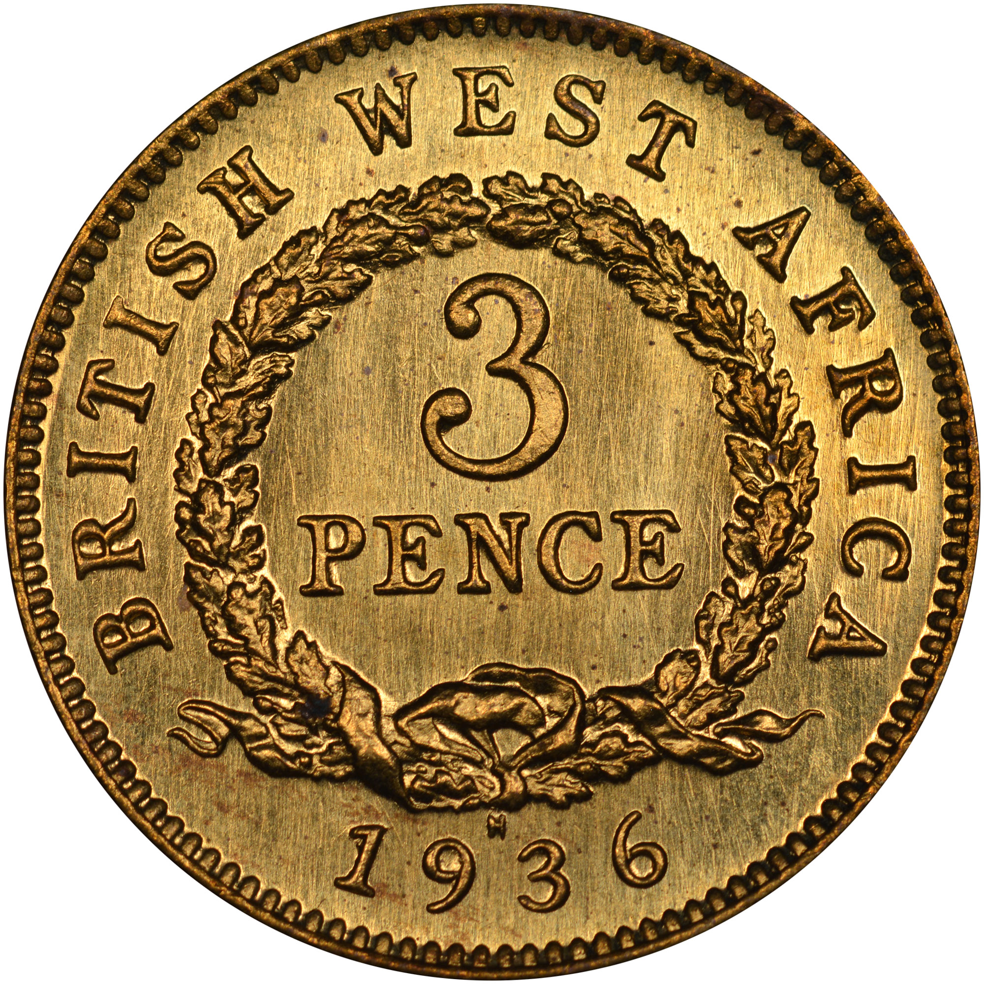 1920-1936 British West Africa 3 Pence reverse