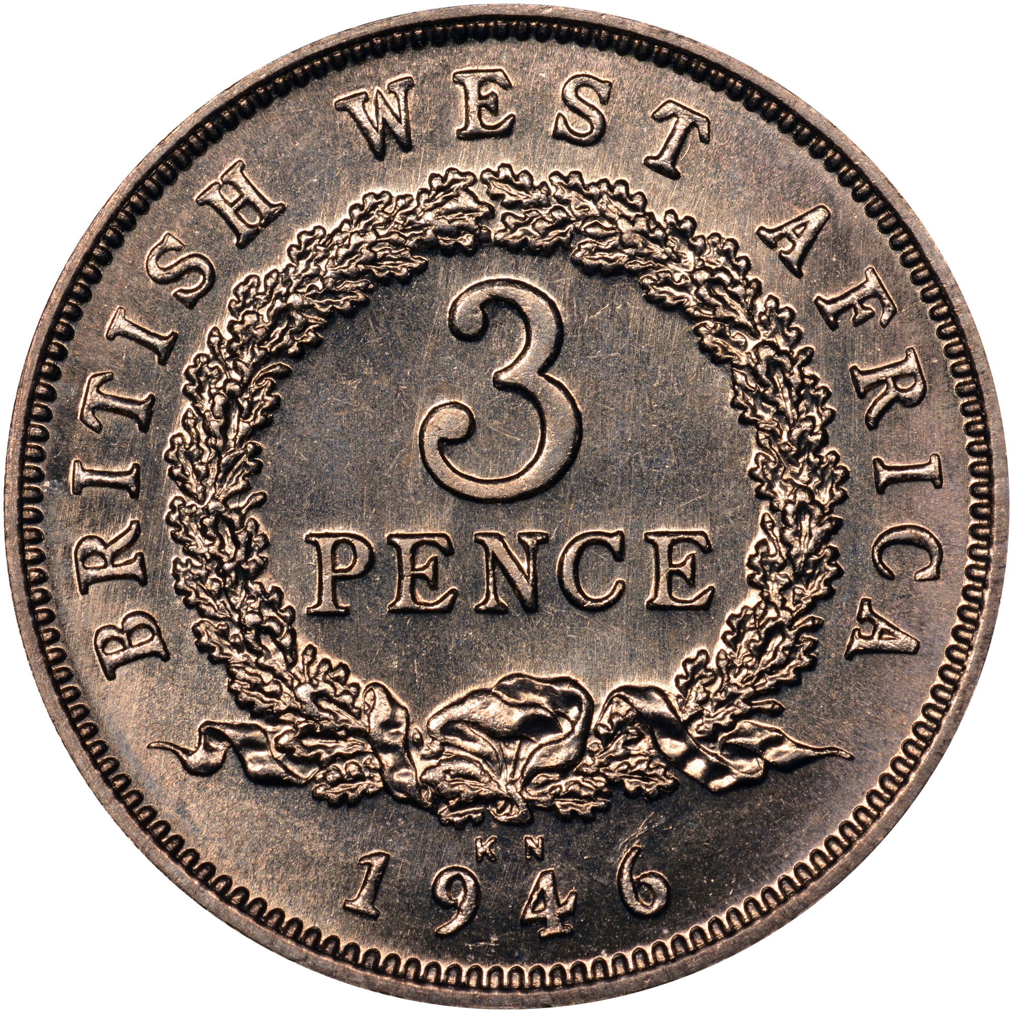 1938-1947 British West Africa 3 Pence reverse