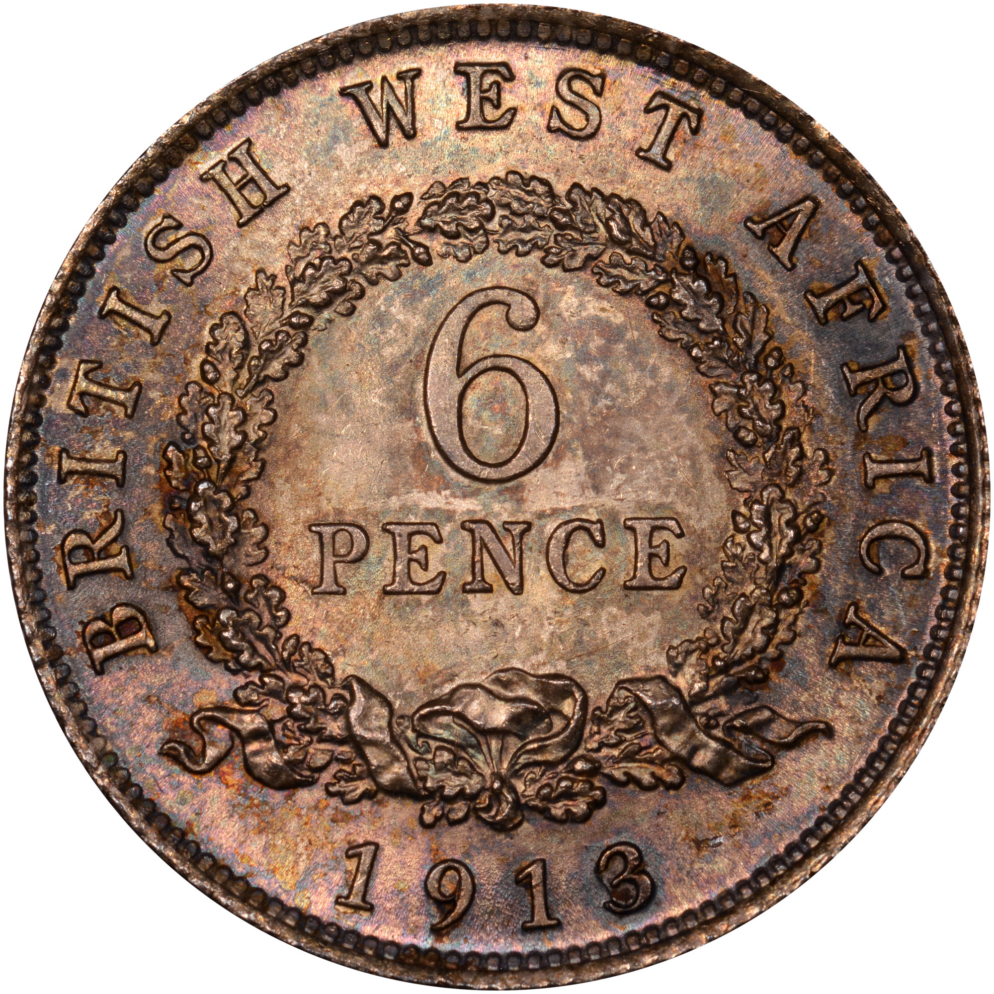 1913-1919 British West Africa 6 Pence reverse