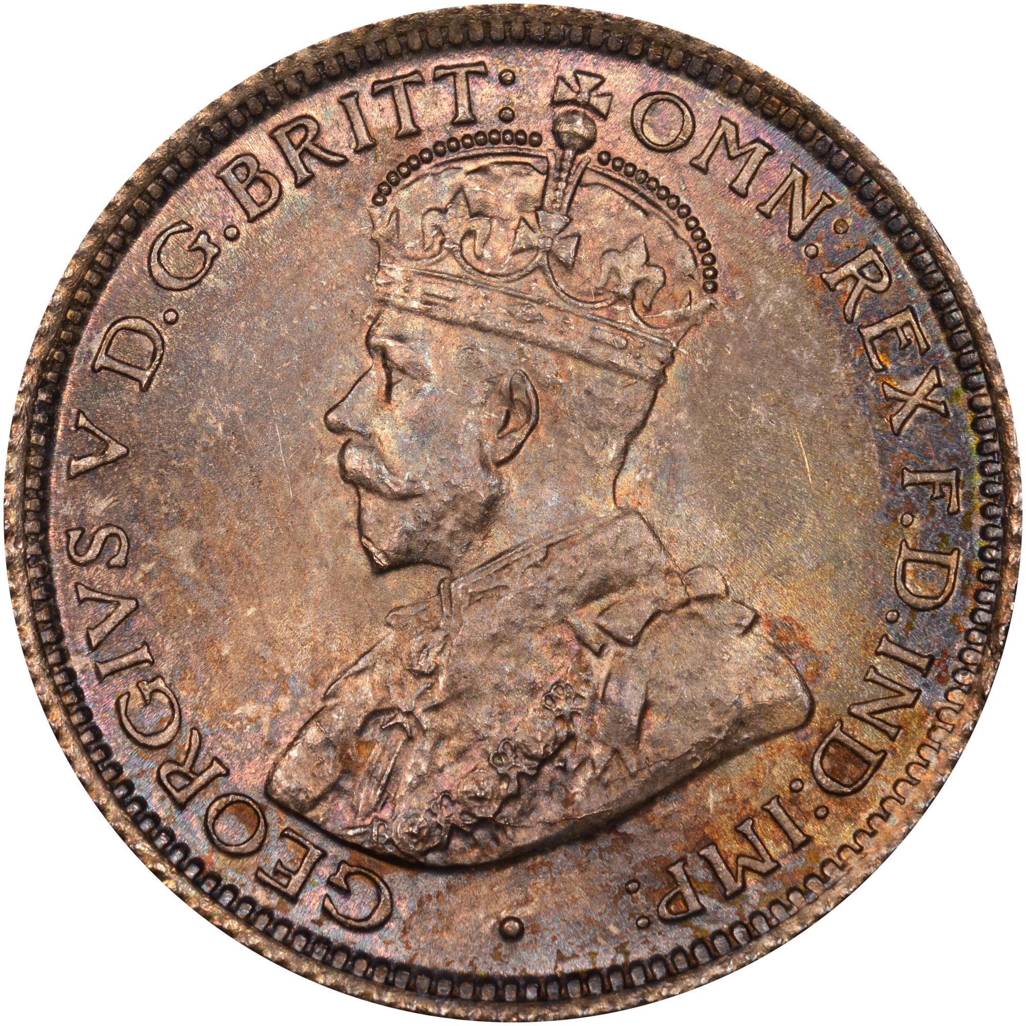 1913-1919 British West Africa 6 Pence obverse