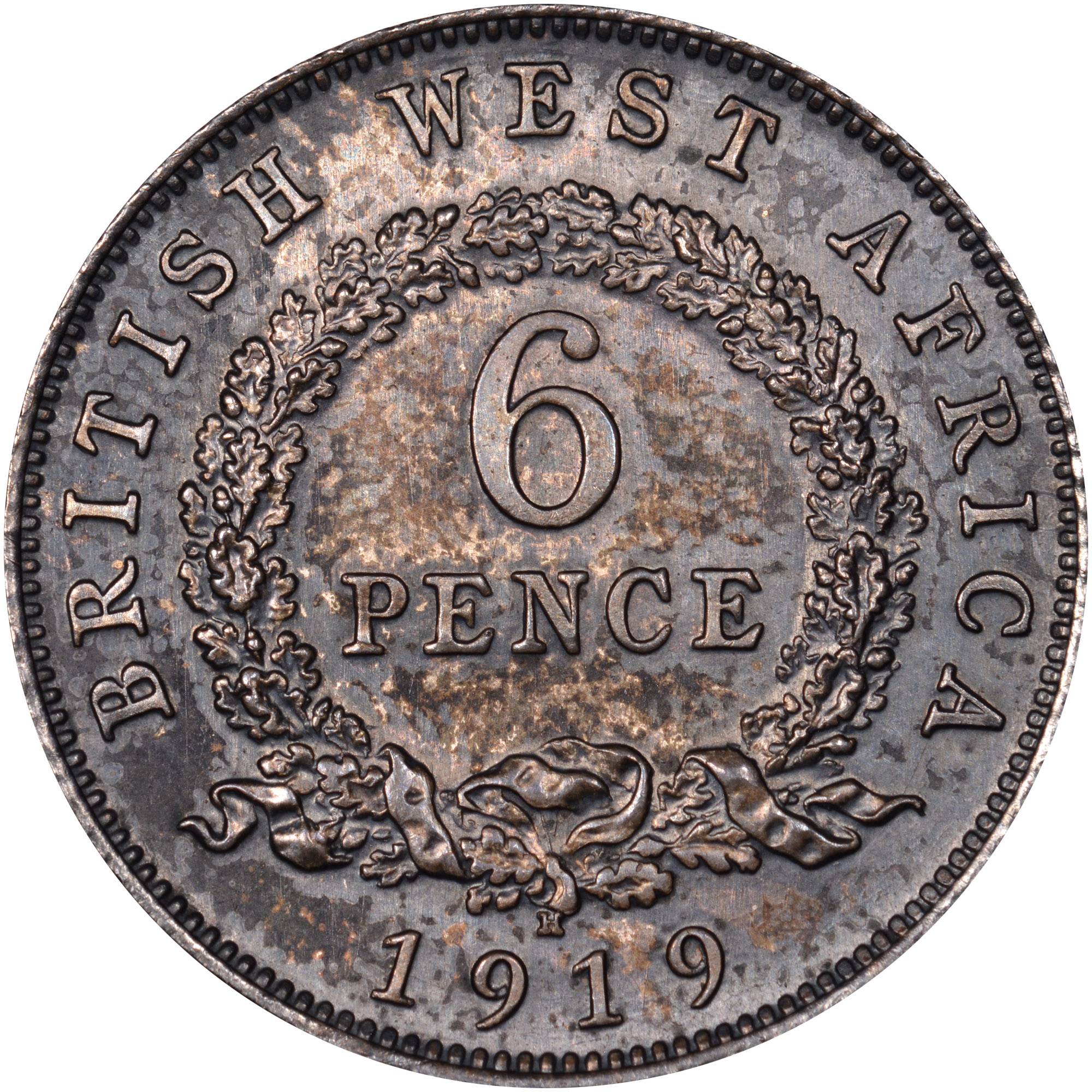 1913-1919 British West Africa 6 Pence reverse