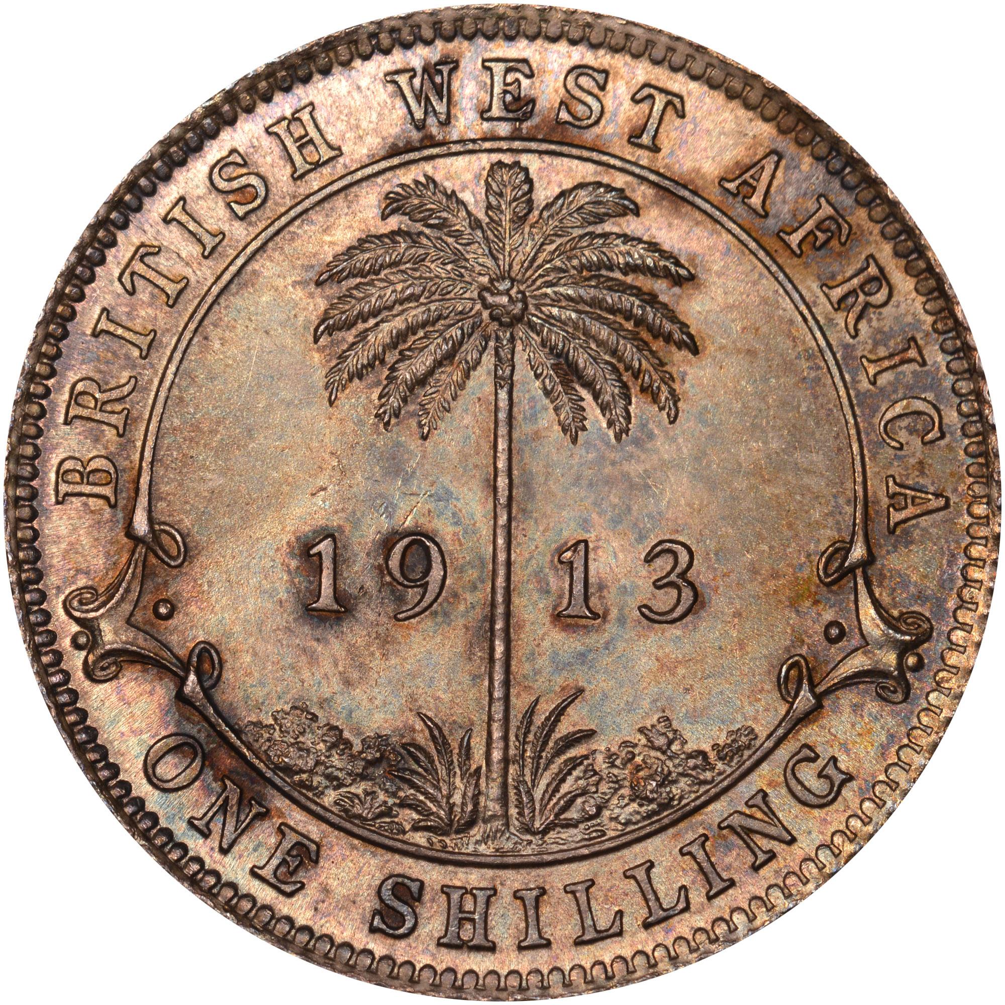 1913-1920 British West Africa Shilling reverse