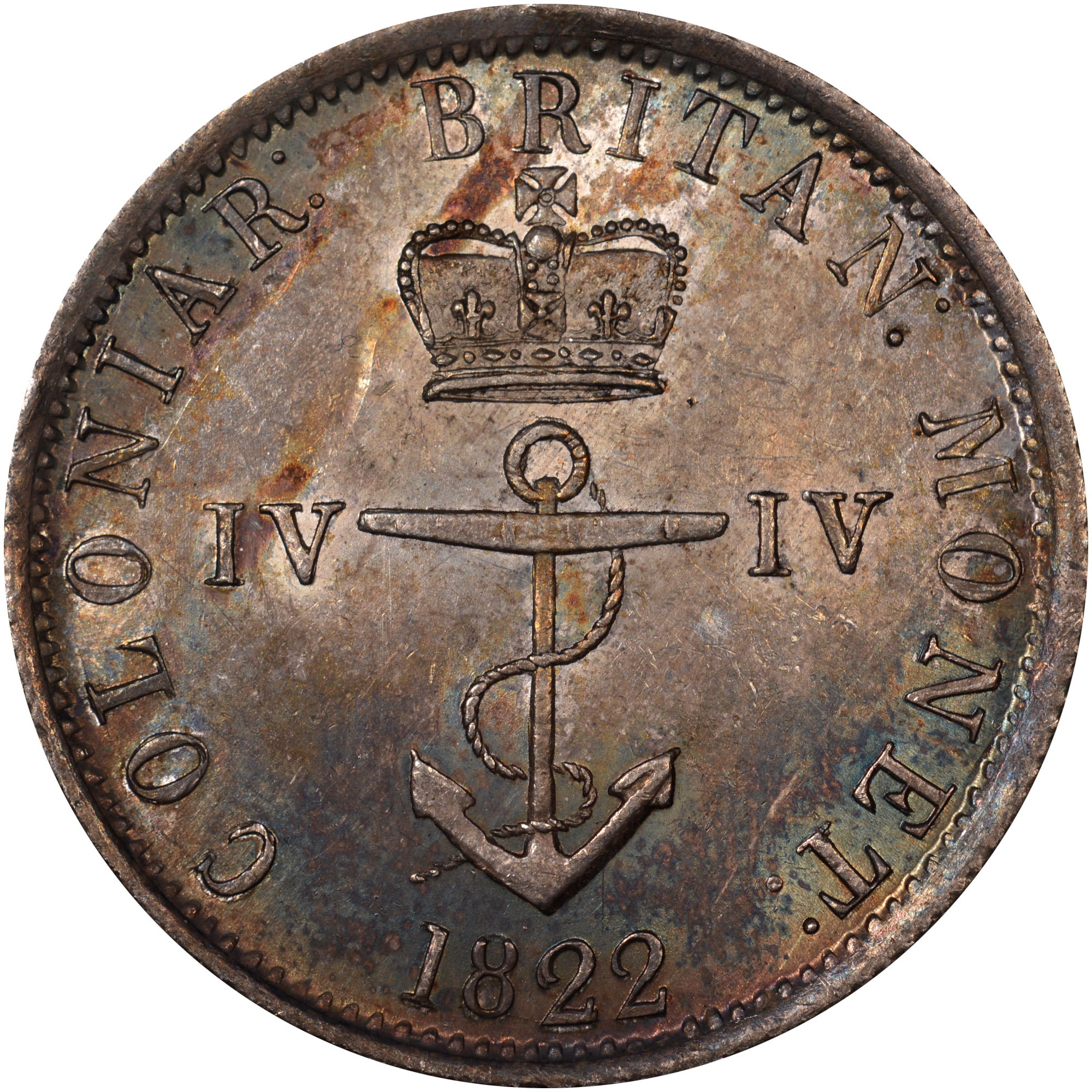 1820-1822/1 British West Indies 1/4 Dollar obverse