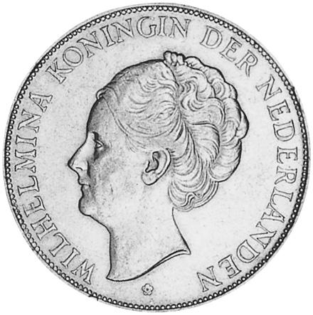 1929-1940 Netherlands 2-1/2 Gulden obverse