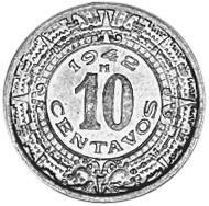 1936-1946 Mexico 10 Centavos reverse