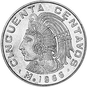 1964-1969 Mexico 50 Centavos reverse