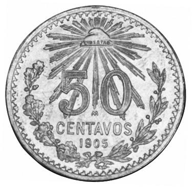 1905-1918 Mexico 50 Centavos reverse
