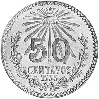 1935 Mexico 50 Centavos reverse