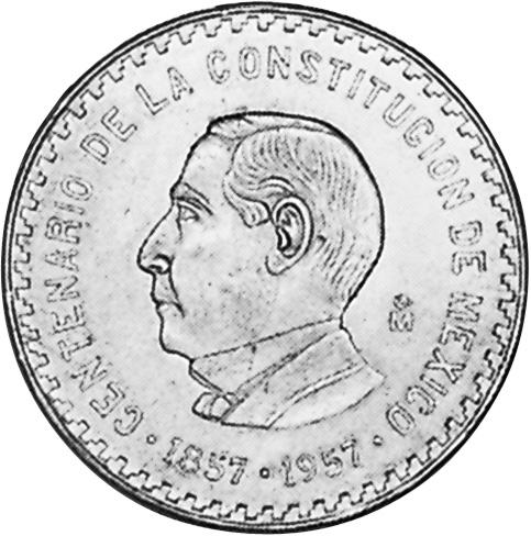 1957 Mexico 10 Pesos reverse