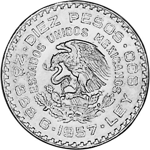 1957 Mexico 10 Pesos obverse