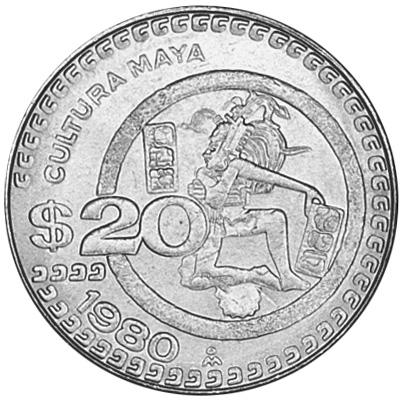 1980-1984 Mexico 20 Pesos reverse