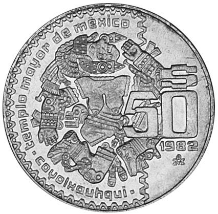 1982-1984 Mexico 50 Pesos reverse