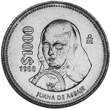 1988-1992 Mexico 1000 Pesos reverse