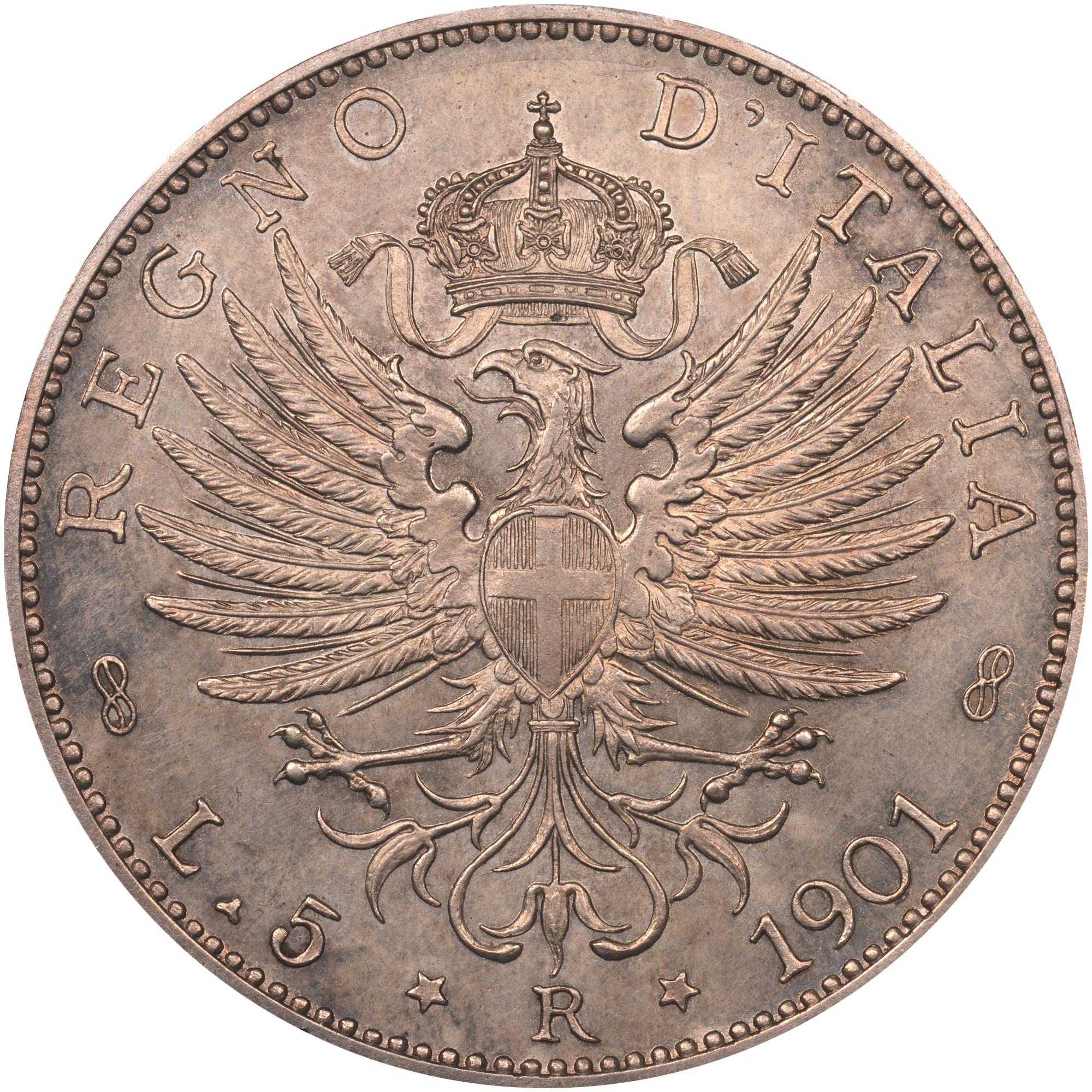 1901 Italy 5 Lire reverse