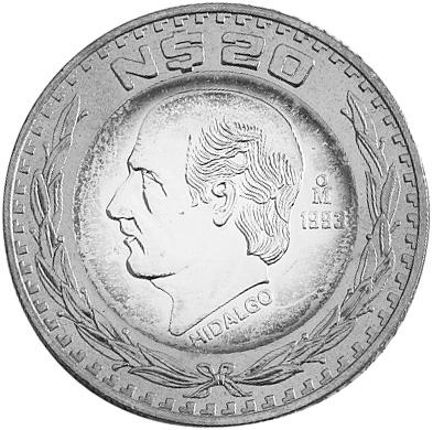 1993-1995 Mexico 20 Nuevo Pesos reverse