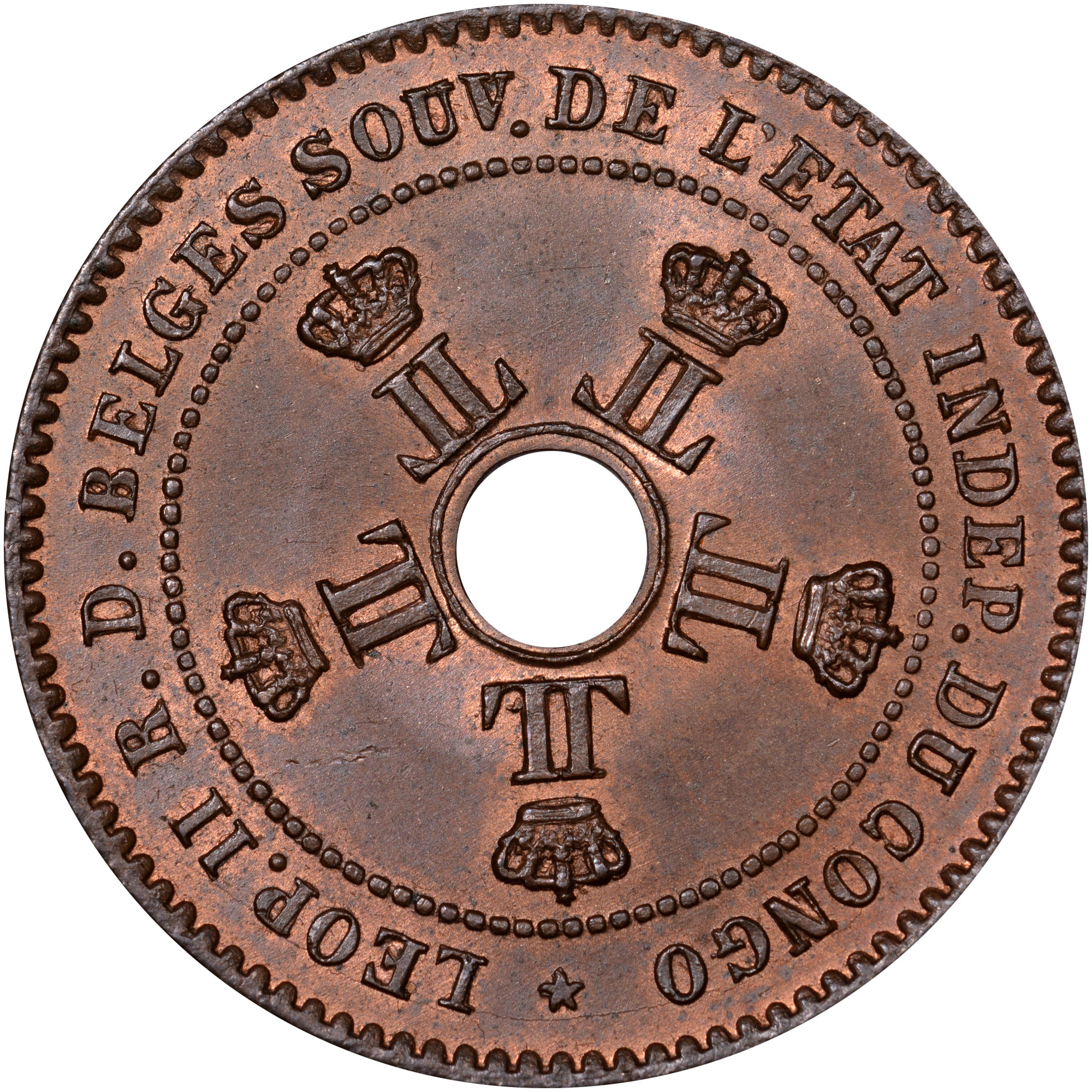 1887-1888 Congo Free State 2 Centimes obverse